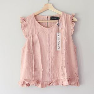 MINKPINK || Sleeveless Ruffle Blouse - Pink Blush